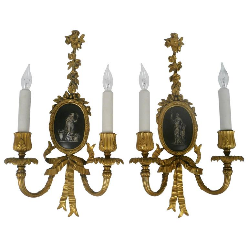 Pair of E. F. Caldwell Gilt and Patinated Bronze Neoclassical, Two-Light Sconces