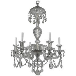 Georgian Style Cut Crystal Six Light Chandelier by E. F. Caldwell