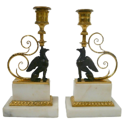 Pair of George III Bronze and Marble Griffin Candlesticks