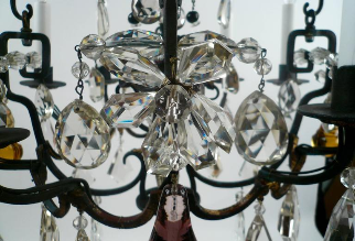 Mid 18th Century Style French Wrought Iron and Crystal Chandelier