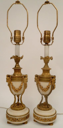 Pair of Gilt Bronze and Marble Louis XVI Style Candlestick Lamps