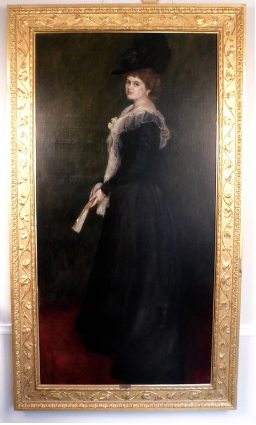 Gilded Age Portrait of a Lady with Fan, Signed A. Roegels 1899