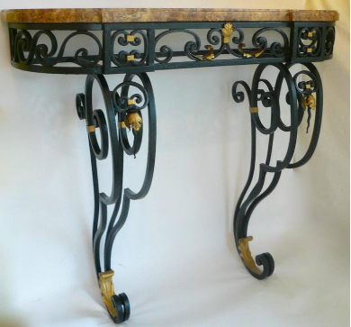 Early 20th Century French Wrought Iron Marble-Top Console Table
