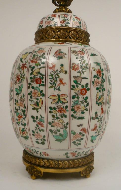 E. F. Caldwell Gilt Bronze Mounted Samson Porcelain 'Chinese Export' Lamp