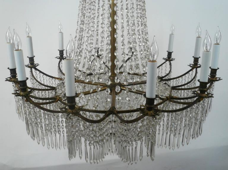Neoclassical Russian Style Twelve-Light Crystal Chandelier