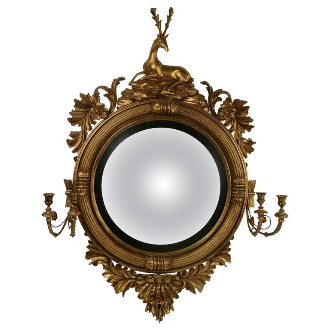 English Regency Convex Mirror by Thomas Fentham & Co.