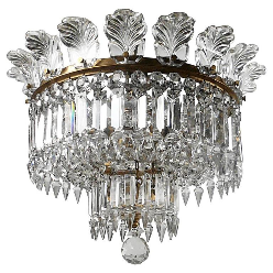 Signed Baccarat 'Crinoline' Gilt Bronze and Cut Crystal Chandelier