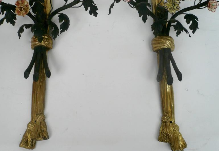 Pair of Louis Style Gilt Bronze and Porcelain Flower Two-Light Sconces