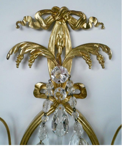 Pair of E. F. Caldwell Cut Crystal and Brass Two-Light Sconces