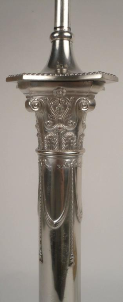Pair of E. F. Caldwell Silver Plated Columnar Lamps