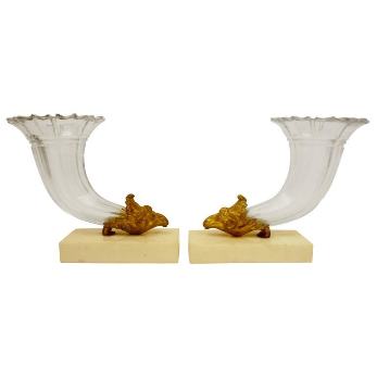 Pair 19th Century Gilt Bronze and Cut Crystal Cornucopia Vases on Marble Bases