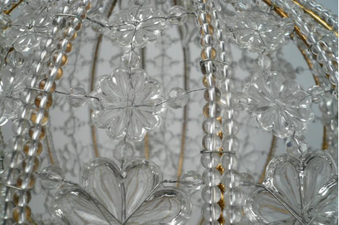 Beaded Crystal and Gilt Metal Baguès Style Mid-Century Circular Chandelier