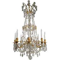 Louis XVI Style Gilt Bronze and Crystal Chandelier