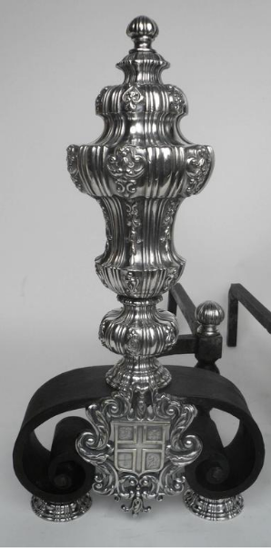 Pair of Silver and Wrought Iron Andirons by E. F. Caldwell