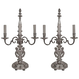Pair of Silvered Bronze Regence Style Candelabra Form Lamps
