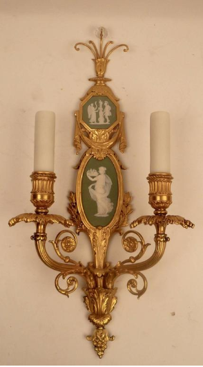 Pair of Gilt Bronze and Wedgwood Neo-Classical Style Sconces