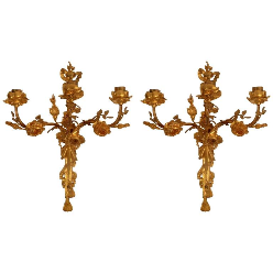 Pair 19th Century French Gilt Bronze Louis XVI Style Floral Sconces