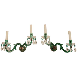 Pair of English Mid-19th Century Emerald Green Cut Crystal Sconces