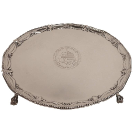 Large George III Sterling Silver Salver by John Carter, circa 1776