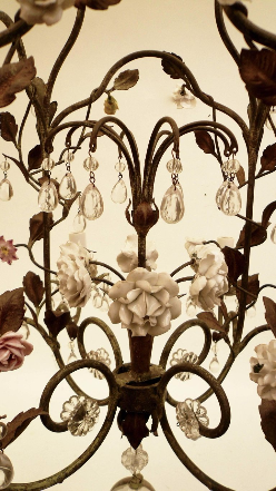 Country French Iron and Porcelain Eight-Light Chandelier