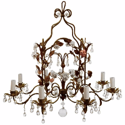 Country French Iron & Porcelain Eight-Light Chandelier