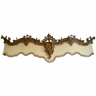 Carved and Giltwood Chinese Chippendale Style Pelmet with Damask Valance