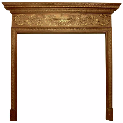 Georgian Carved Pine Mantle with Gilt Gesso Elements - Antique Furniture, Fine Art Dealer, Mark Evers Antiques