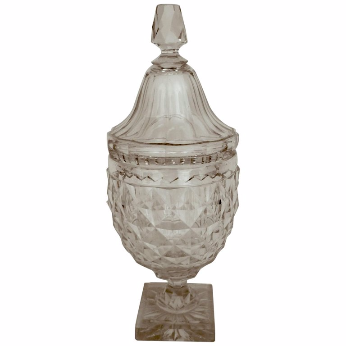 Anglo-Irish Cut Crystal Lidded Urn